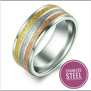 Women Stainless Steel Tri-Tone Ring